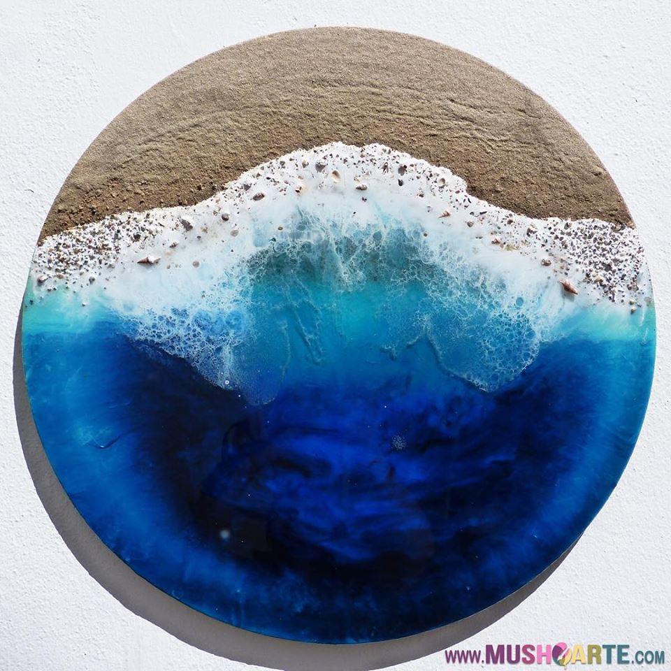 Как создать эффект морской волны на картинах из эпоксидной смолы?