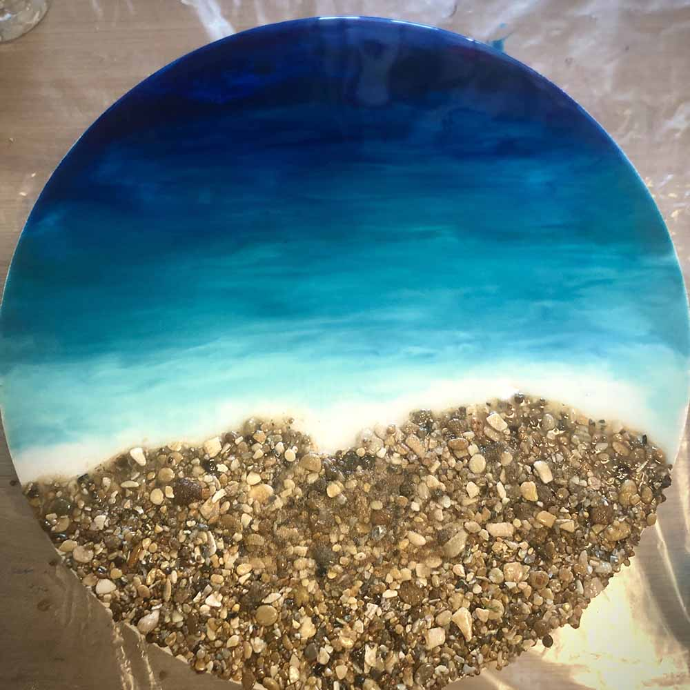 Процесс создания картины в морском стиле эпоксидной смолой