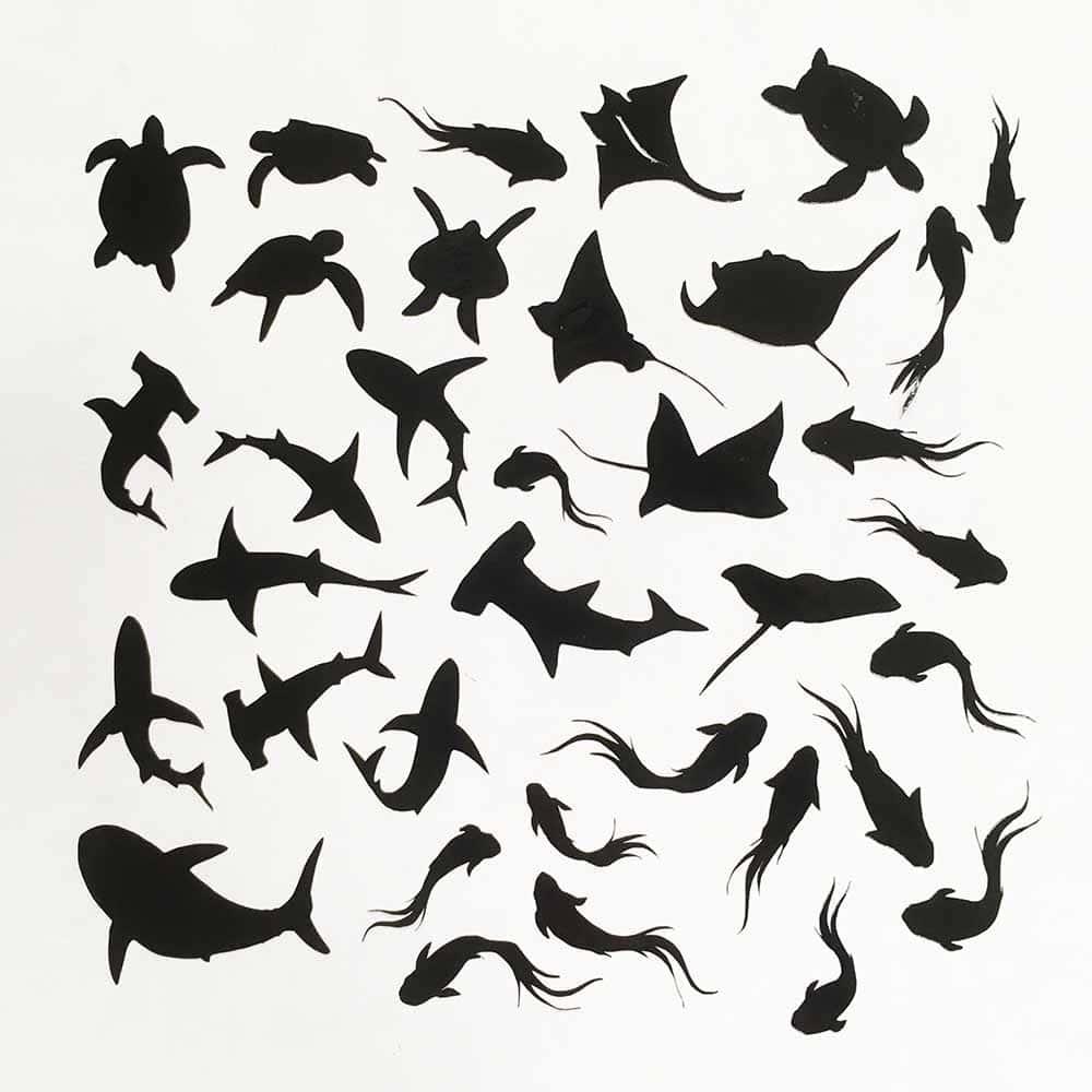Стикеры для смолы в виде акул и скатов